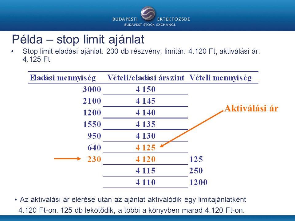 Példa – stop limit ajánlat •Stop limit eladási ajánlat: 230 db részvény; limitár: 4.120 Ft; aktiválási ár: 4.125 Ft Aktiválási ár •Az aktiválási ár elérése után az ajánlat aktiválódik egy limitajánlatként 4.120 Ft-on.