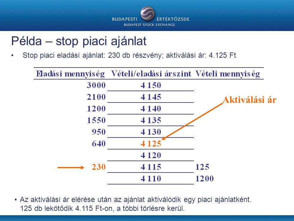 Példa – stop piaci ajánlat •Stop piaci eladási ajánlat: 230 db részvény; aktiválási ár: 4.125 Ft •Az aktiválási ár elérése után az ajánlat aktiválódik egy piaci ajánlatként.