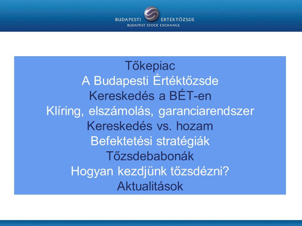 Tőkepiac A Budapesti Értéktőzsde Kereskedés a BÉT-en Klíring, elszámolás, garanciarendszer Kereskedés vs.