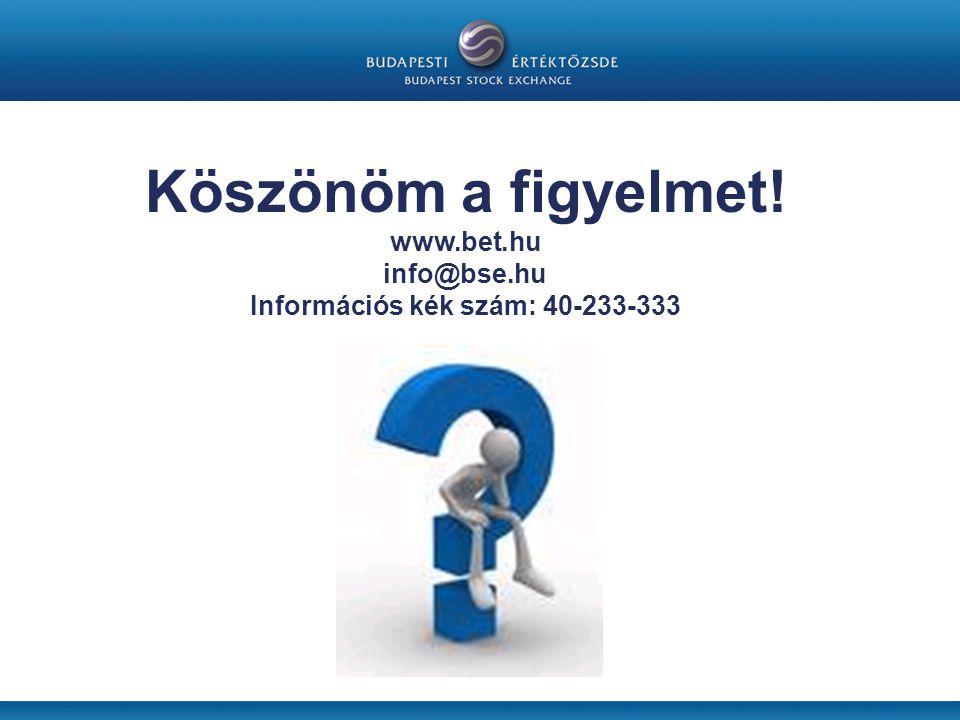 Köszönöm a figyelmet! www.bet.hu info@bse.hu Információs kék szám: 40-233-333