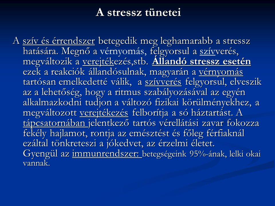 A stressz tünetei A szív és érrendszer betegedik meg leghamarabb a stressz hatására. Megnő a felgyorsul a verés, megváltozik a verejtékezés,stb. Állan