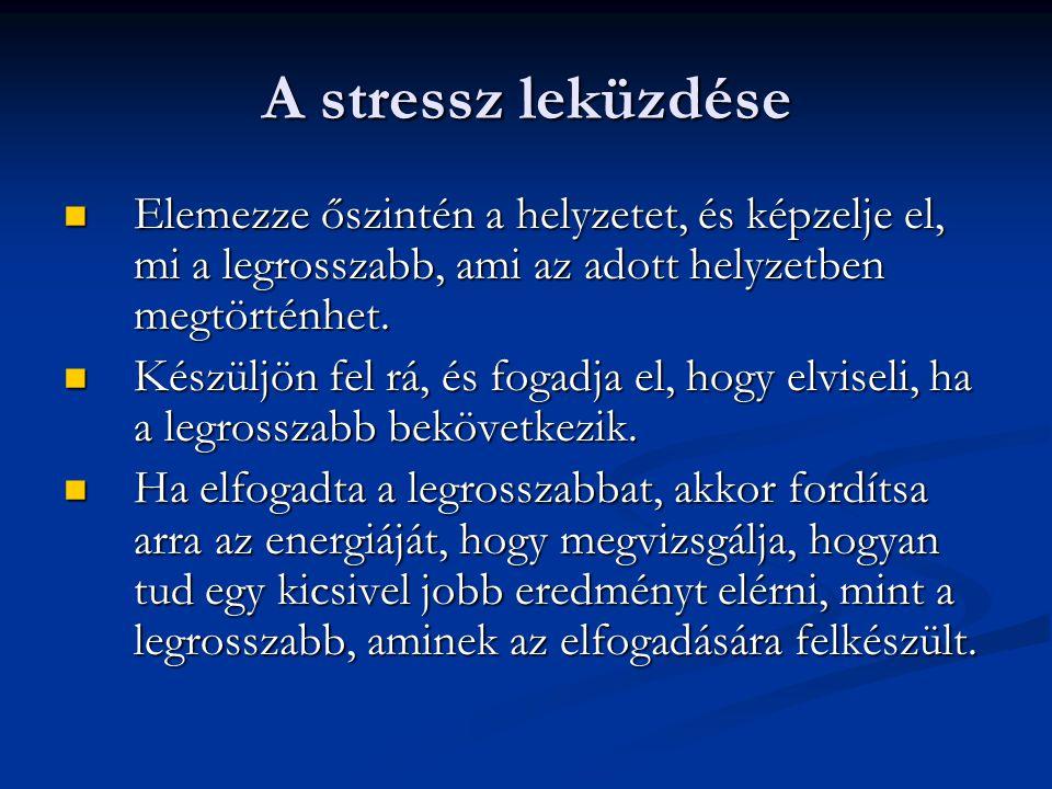 A stressz leküzdése  Elemezze őszintén a helyzetet, és képzelje el, mi a legrosszabb, ami az adott helyzetben megtörténhet.  Készüljön fel rá, és fo