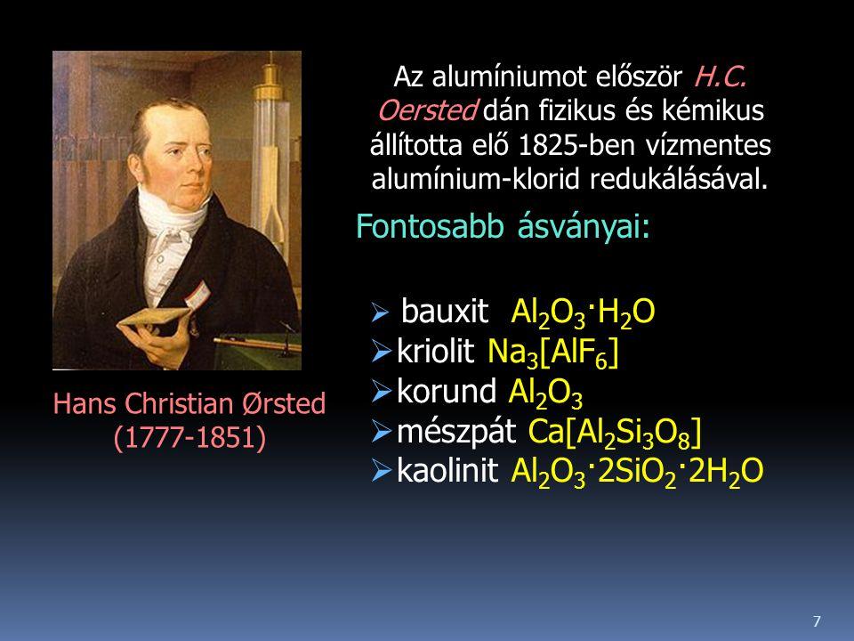 Hans Christian Ørsted (1777-1851) Az alumíniumot először H.C.