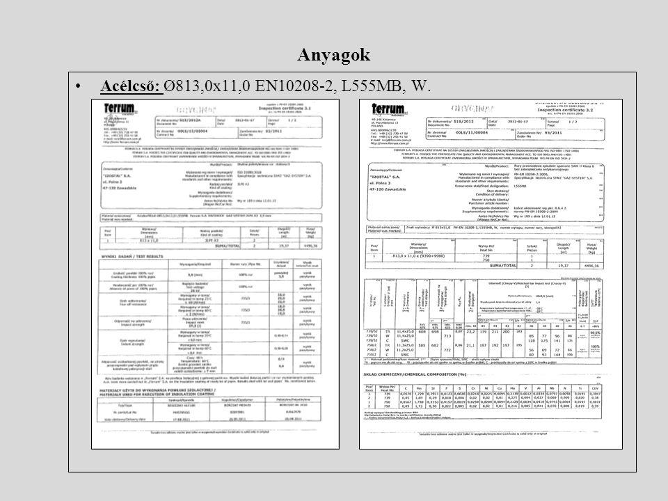 Anyagok •Acélcső: Ø813,0x11,0 EN10208-2, L555MB, W.