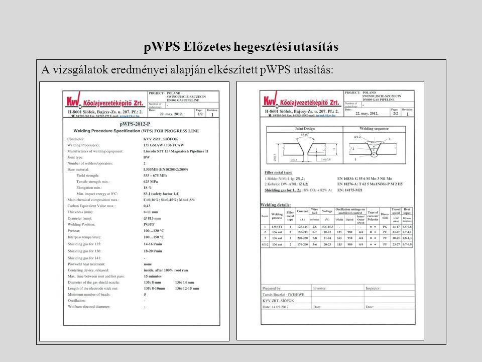 pWPS Előzetes hegesztési utasítás A vizsgálatok eredményei alapján elkészített pWPS utasítás: