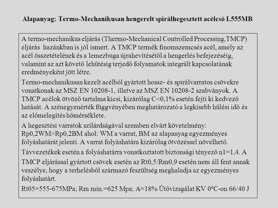 Alapanyag: Termo-Mechanikusan hengerelt spirálhegesztett acélcső L555MB A termo-mechanikus eljárás (Thermo-Mechanical Controlled Processing,TMCP) eljá