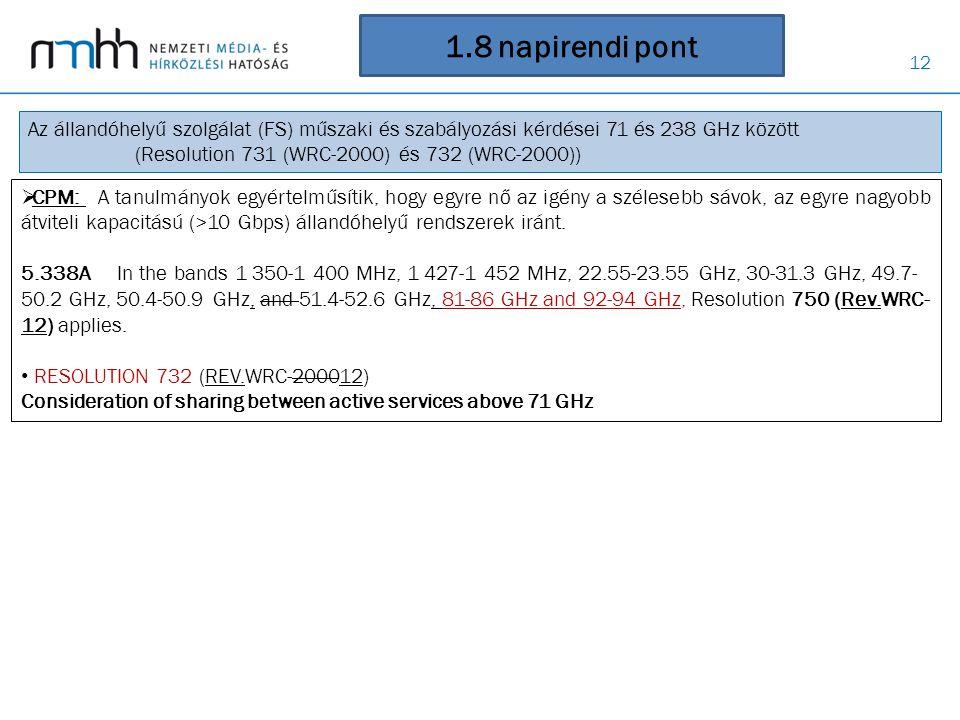 12 1.8 napirendi pont Az állandóhelyű szolgálat (FS) műszaki és szabályozási kérdései 71 és 238 GHz között (Resolution 731 (WRC-2000) és 732 (WRC-2000