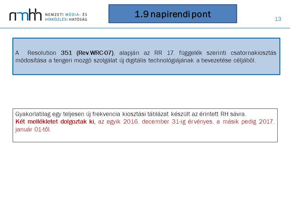 13 1.9 napirendi pont A Resolution 351 (Rev.WRC ‑ 07), alapján az RR 17. függelék szerinti csatornakiosztás módosítása a tengeri mozgó szolgálat új di