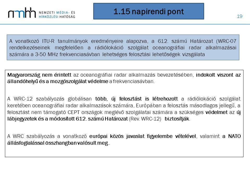 19 1.15 napirendi pont Magyarország nem érintett az oceanográfiai radar alkalmazás bevezetésében, indokolt viszont az állandóhelyű és a mozgószolgálat