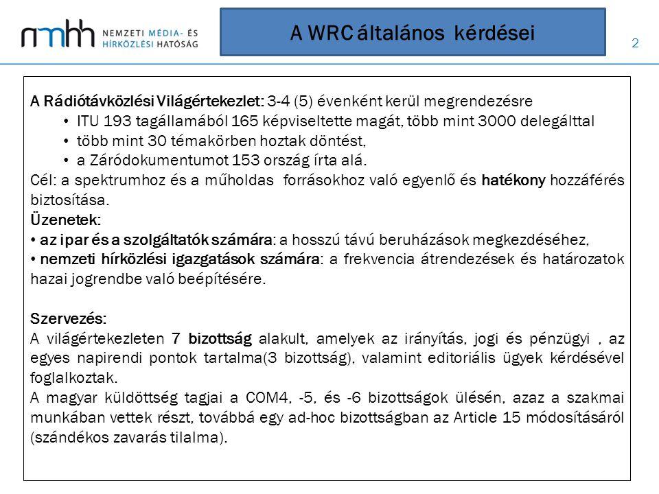 13 1.9 napirendi pont A Resolution 351 (Rev.WRC ‑ 07), alapján az RR 17.