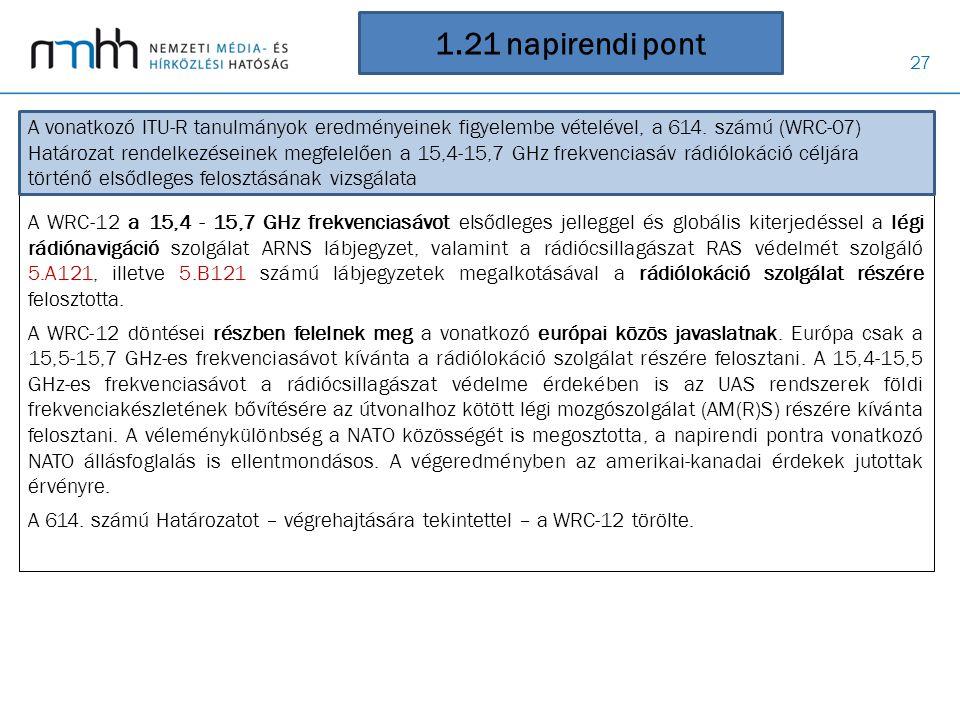 27 1.21 napirendi pont A WRC-12 a 15,4 - 15,7 GHz frekvenciasávot elsődleges jelleggel és globális kiterjedéssel a légi rádiónavigáció szolgálat ARNS