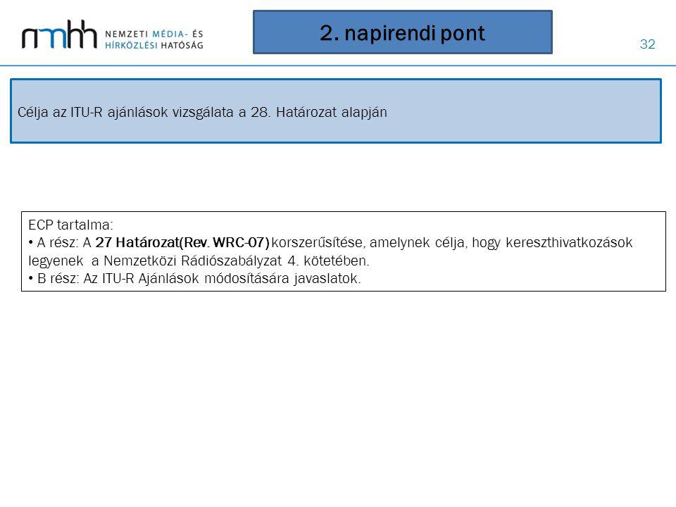 32 2. napirendi pont Célja az ITU-R ajánlások vizsgálata a 28. Határozat alapján ECP tartalma: • A rész: A 27 Határozat(Rev. WRC-07) korszerűsítése, a
