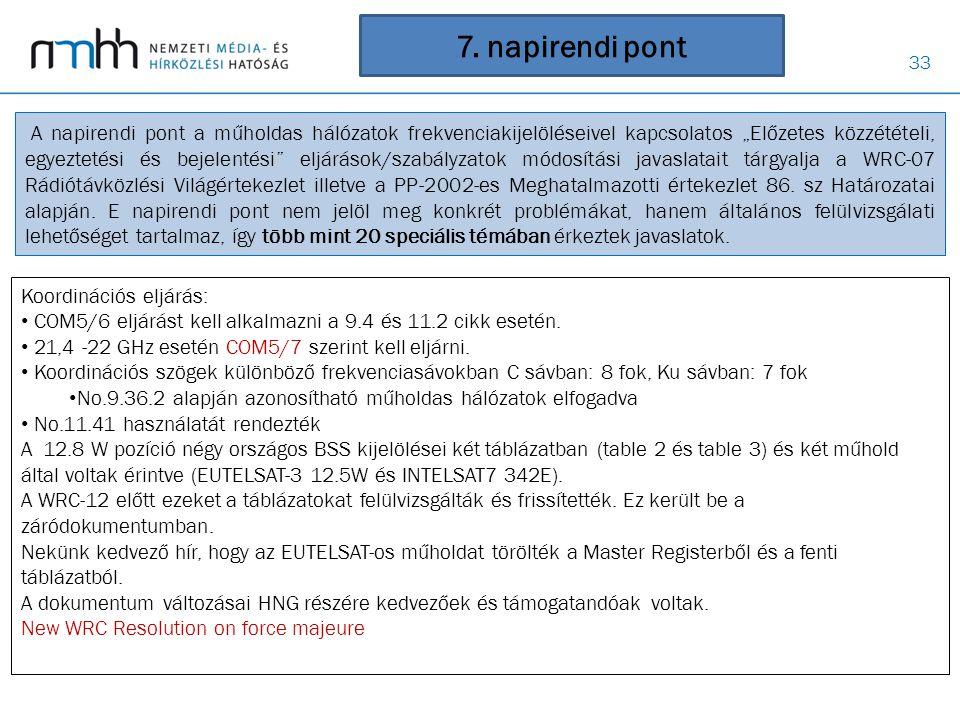 """33 7. napirendi pont A napirendi pont a műholdas hálózatok frekvenciakijelöléseivel kapcsolatos """"Előzetes közzétételi, egyeztetési és bejelentési"""" elj"""