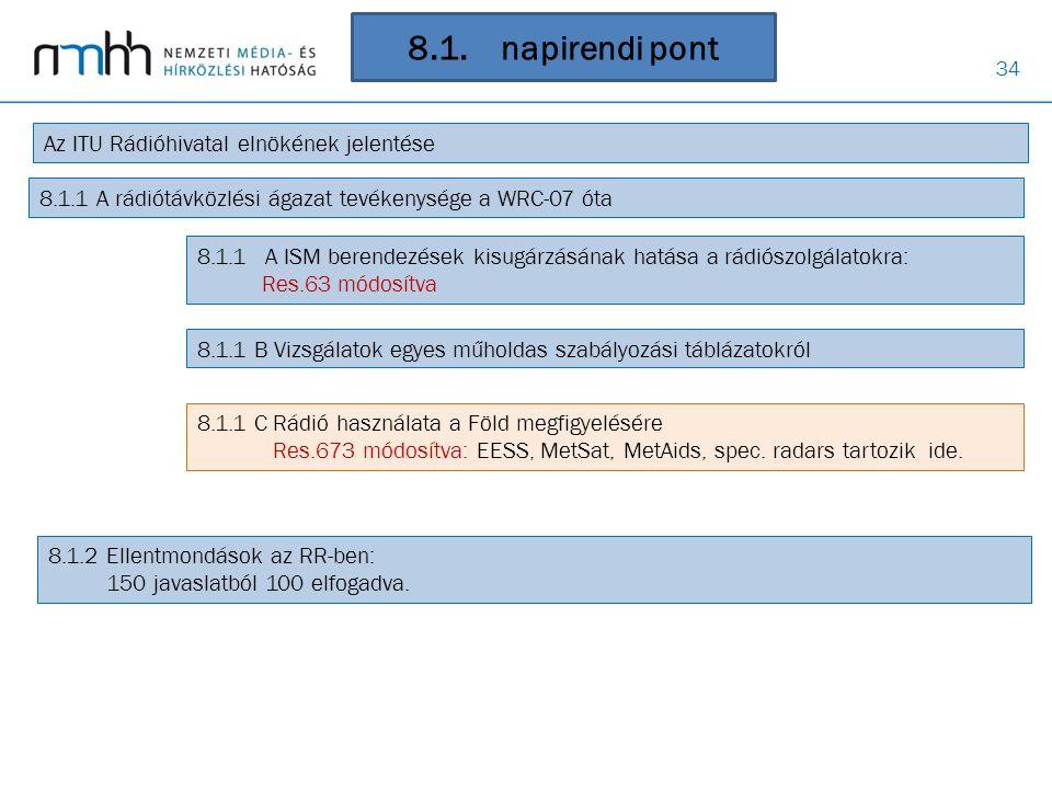34 8.1. napirendi pont Az ITU Rádióhivatal elnökének jelentése 8.1.1 A rádiótávközlési ágazat tevékenysége a WRC-07 óta 8.1.1 A ISM berendezések kisug