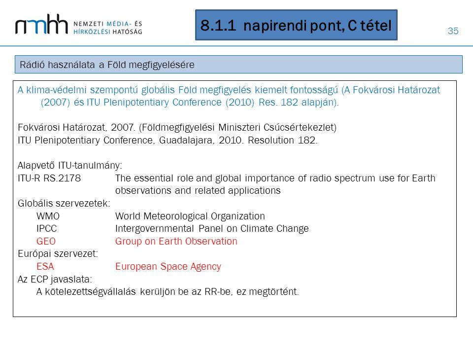 35 8.1.1 napirendi pont, C tétel Rádió használata a Föld megfigyelésére A klima-védelmi szempontú globális Föld megfigyelés kiemelt fontosságú (A Fokv