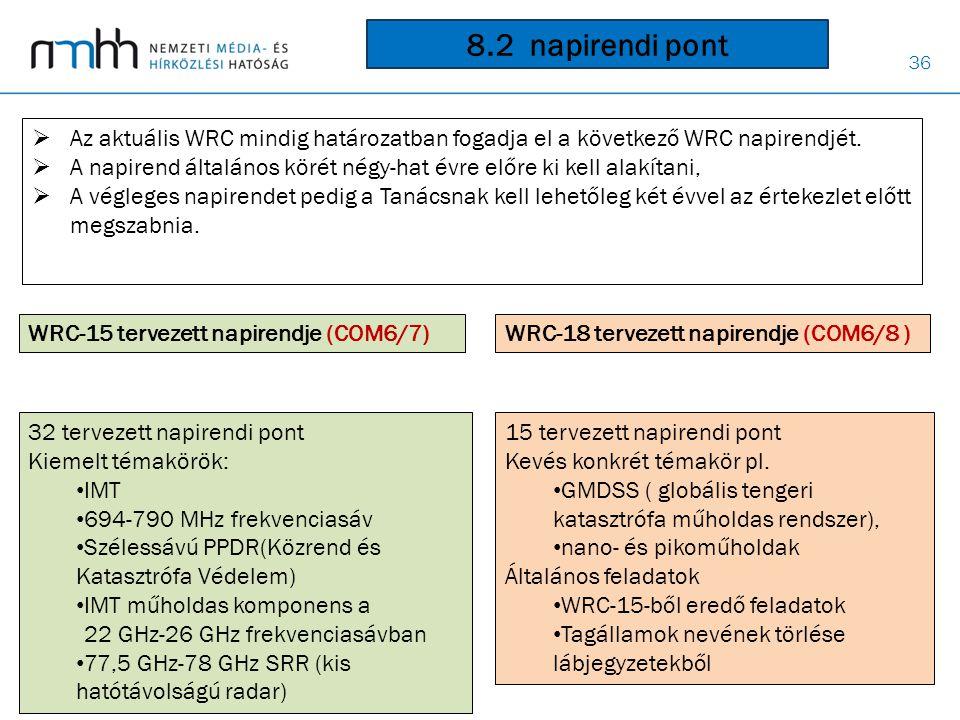 36 WRC-15 tervezett napirendje (COM6/7) WRC-18 tervezett napirendje (COM6/8 ) 32 tervezett napirendi pont Kiemelt témakörök: • IMT • 694-790 MHz frekv