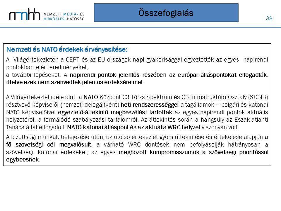 38 Összefoglalás Nemzeti és NATO érdekek érvényesítése: A Világértekezleten a CEPT és az EU országok napi gyakorisággal egyeztették az egyes napirendi