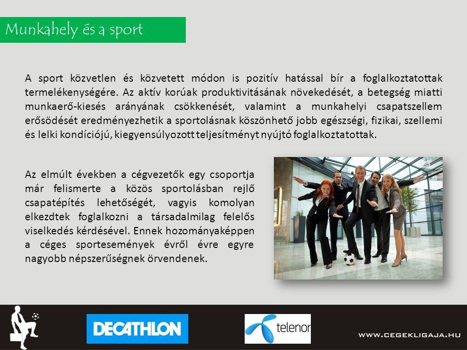 Munkahely és a sport A sport közvetlen és közvetett módon is pozitív hatással bír a foglalkoztatottak termelékenységére.