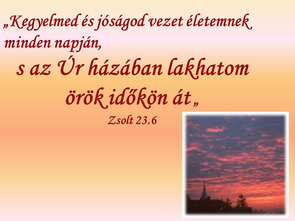 """""""Kegyelmed és jóságod vezet életemnek minden napján, s az Úr házában lakhatom örök időkön át """" Zsolt 23.6"""