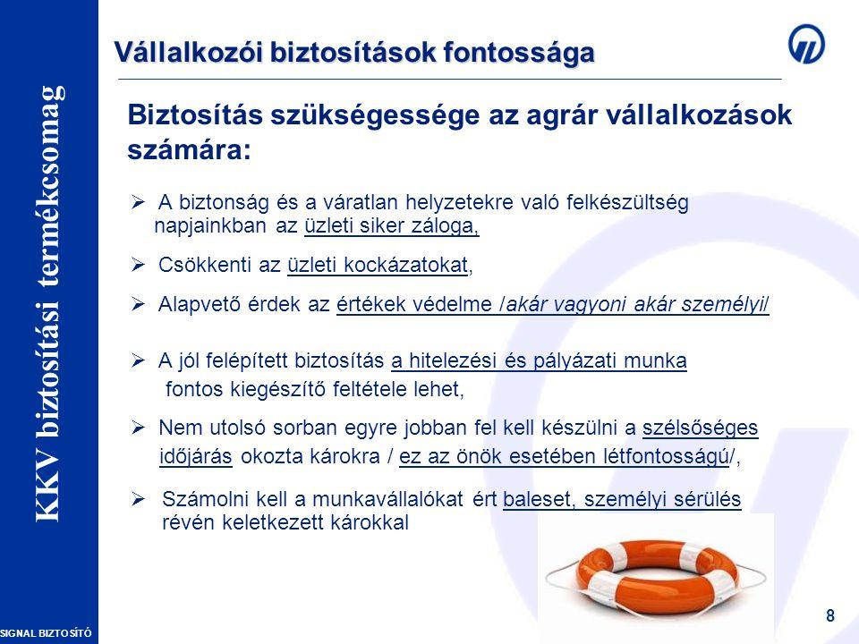 SIGNAL BIZTOSÍTÓ Vállalkozói vagyonbiztosítások – Szakmai Nap 8 Biztosítás szükségessége az agrár vállalkozások számára:  A biztonság és a váratlan helyzetekre való felkészültség napjainkban az üzleti siker záloga,  Csökkenti az üzleti kockázatokat,  Alapvető érdek az értékek védelme /akár vagyoni akár személyi/  A jól felépített biztosítás a hitelezési és pályázati munka fontos kiegészítő feltétele lehet,  Nem utolsó sorban egyre jobban fel kell készülni a szélsőséges időjárás okozta károkra / ez az önök esetében létfontosságú/,  Számolni kell a munkavállalókat ért baleset, személyi sérülés révén keletkezett károkkal Vállalkozói biztosítások fontossága KKV biztosítási termékcsomag