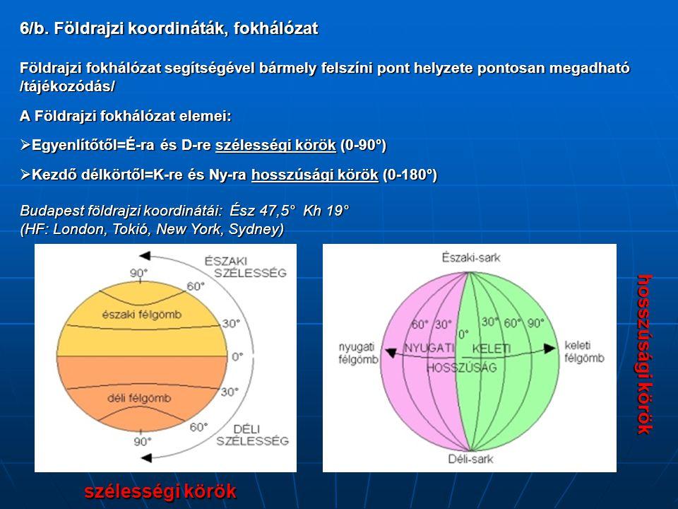 szélességi körök hosszúsági körök 6/b. Földrajzi koordináták, fokhálózat Földrajzi fokhálózat segítségével bármely felszíni pont helyzete pontosan meg