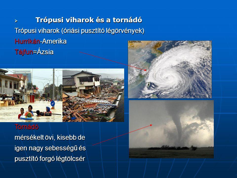  Trópusi viharok és a tornádó Trópusi viharok (óriási pusztító légörvények) Hurrikán-Amerika Tájfun=Ázsia Tornádó mérsékelt övi, kisebb de igen nagy