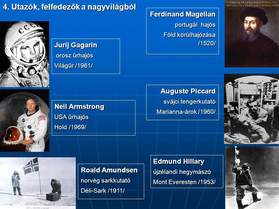 4. Utazók, felfedezők a nagyvilágból Edmund Hillary újzélandi hegymászó Mont Everesten /1953/ Ferdinand Magellan portugál hajós Föld körülhajózása /15