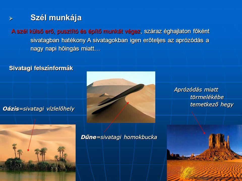  Szél munkája A szél külső erő, pusztító és építő munkát végez, száraz éghajlaton főként sivatagban hatékony A sivatagokban igen erőteljes az aprózód