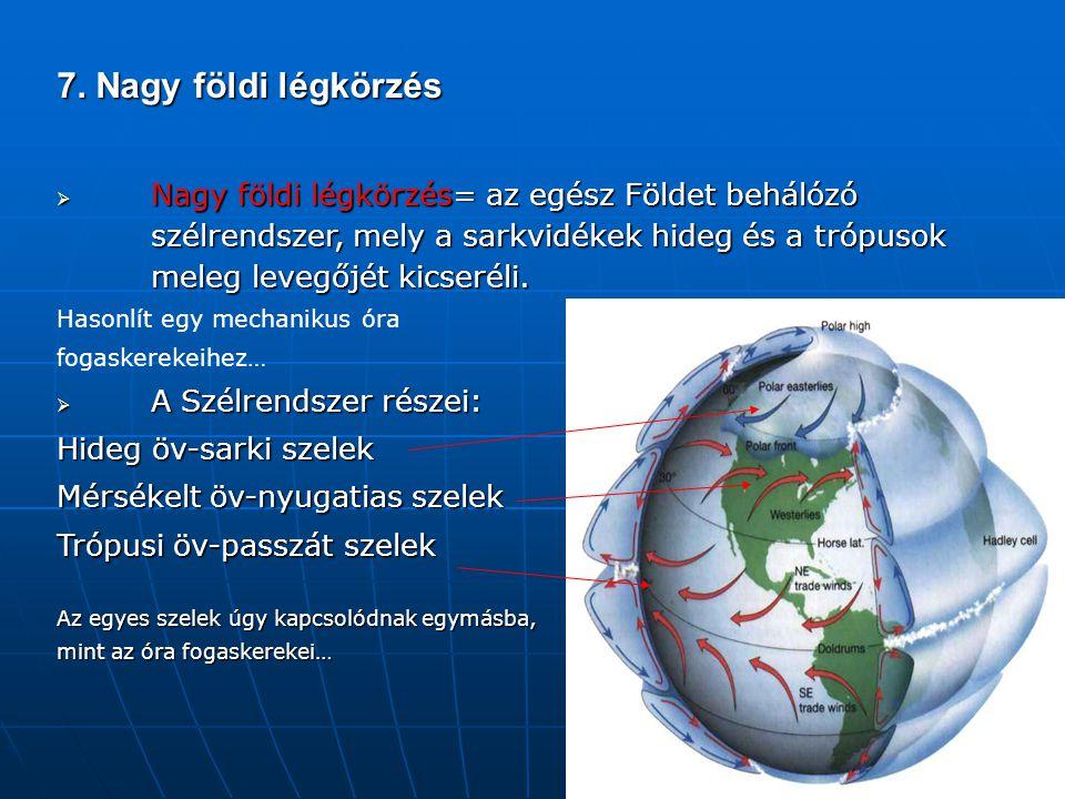 7. Nagy földi légkörzés  Nagy földi légkörzés= az egész Földet behálózó szélrendszer, mely a sarkvidékek hideg és a trópusok meleg levegőjét kicserél
