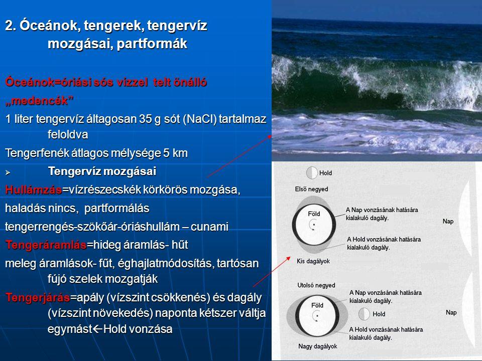 "2. Óceánok, tengerek, tengervíz mozgásai, partformák Óceánok=óriási sós vízzel telt önálló ""medencék"" 1 liter tengervíz áltagosan 35 g sót (NaCl) tart"