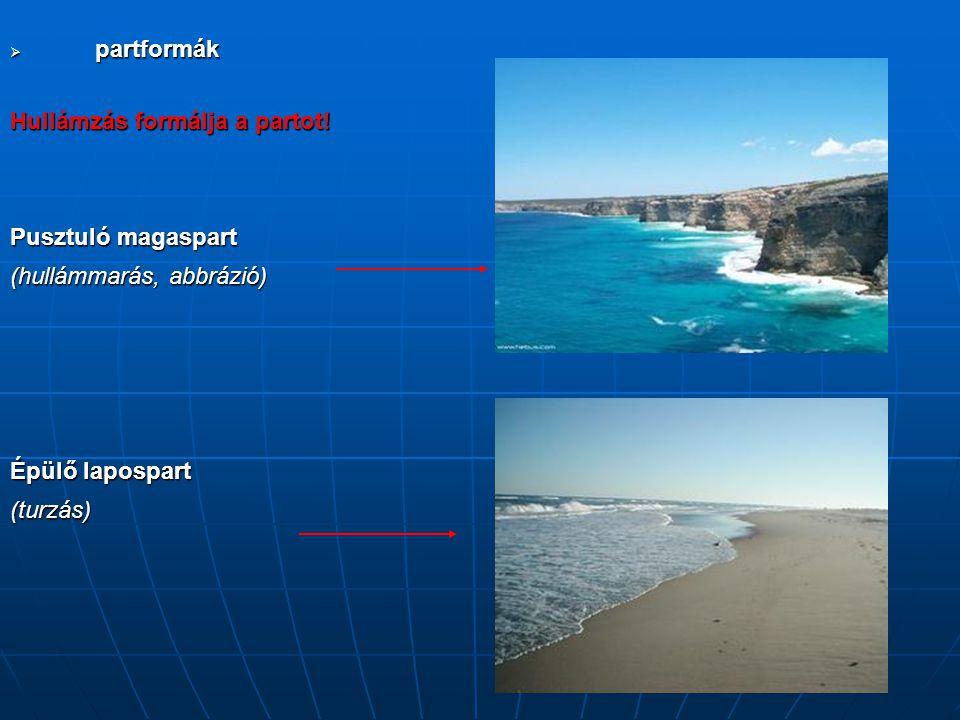 partformák Hullámzás formálja a partot! Pusztuló magaspart (hullámmarás, abbrázió) Épülő lapospart (turzás)