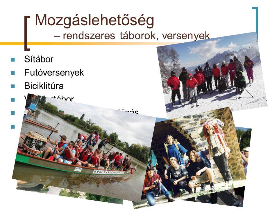 Mozgáslehetőség – rendszeres táborok, versenyek  Sítábor  Futóversenyek  Biciklitúra  Vándortábor  Evezőstúra, sárkányhajózás  Ökológia terepgya