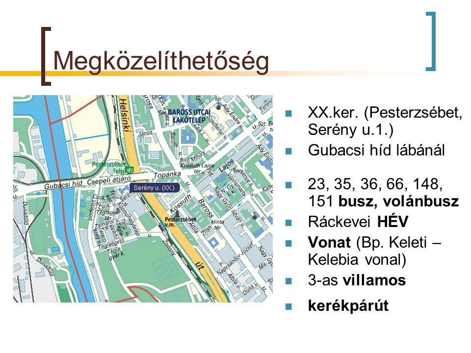Megközelíthetőség  XX.ker. (Pesterzsébet, Serény u.1.)  Gubacsi híd lábánál  23, 35, 36, 66, 148, 151 busz, volánbusz  Ráckevei HÉV  Vonat (Bp. K