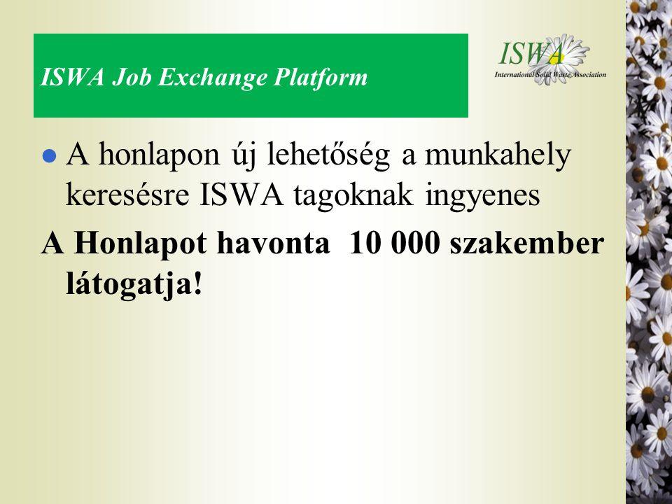 ISWA Job Exchange Platform l A honlapon új lehetőség a munkahely keresésre ISWA tagoknak ingyenes A Honlapot havonta 10 000 szakember látogatja!