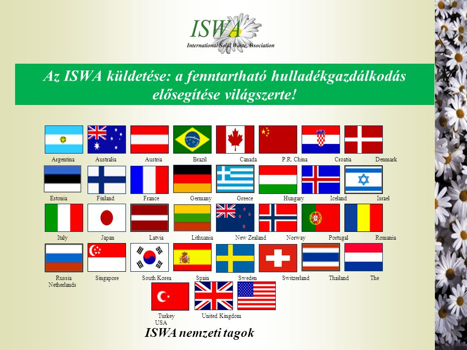 Az ISWA tagság előnyei l Az ISWA mindenki számára elérhető, aki érdeklődik a szilárd hulladékgazdálkodás iránt l Az ISWA folyamatosan tájékoztat a világszerte új fejlesztésekről és irányzatokról a hulladékgazdálkodás és a környezetvédelem területén l Az ISWA naprakész ismeretet szolgáltat a világ vezető kutató intézeteiről és iparágairól l Az ISWA folyamatosan tájékoztat a törvényalkotásról és a környezeti politikákról regionális, nemzeti és nemzetközi szinten l Az ISWA nemzetközi szinten, a döntéshozók előtt képviseli a tagság érdekeit l Az ISWA biztosítja a legfrissebb EU híreket