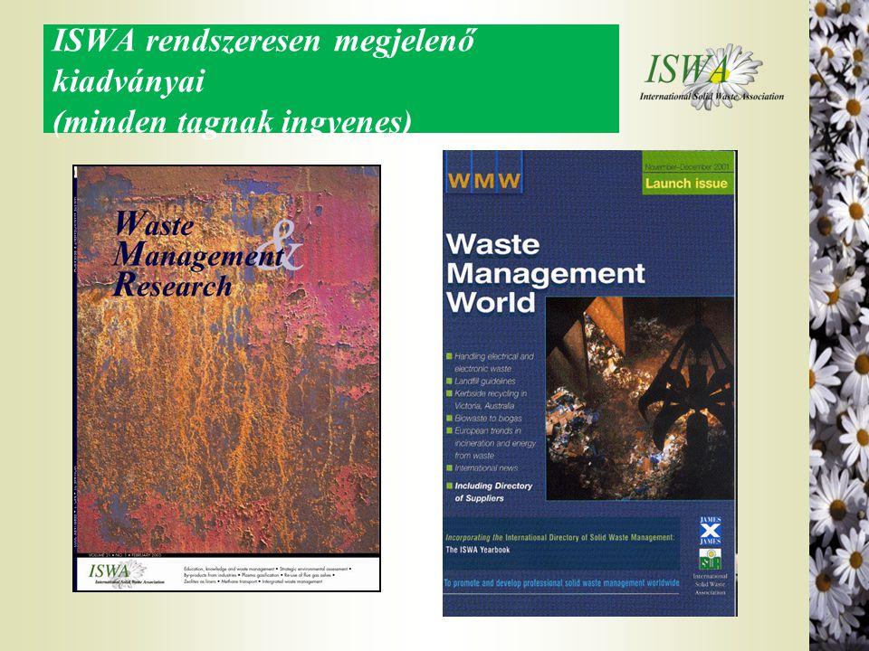 ISWA rendszeresen megjelenő kiadványai (minden tagnak ingyenes)