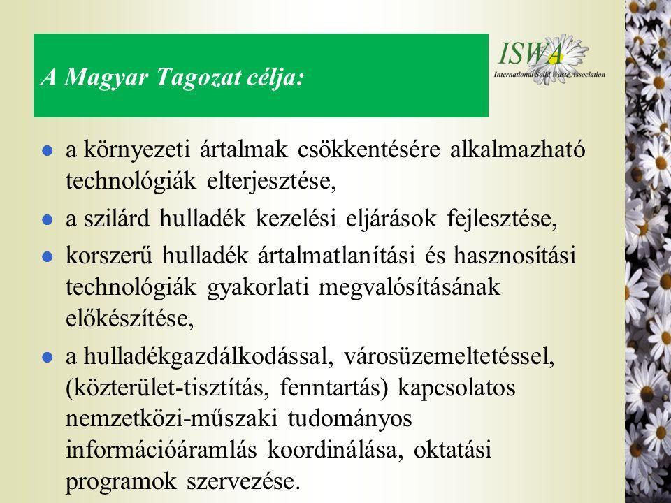A Magyar Tagozat célja: l a környezeti ártalmak csökkentésére alkalmazható technológiák elterjesztése, l a szilárd hulladék kezelési eljárások fejlesztése, l korszerű hulladék ártalmatlanítási és hasznosítási technológiák gyakorlati megvalósításának előkészítése, l a hulladékgazdálkodással, városüzemeltetéssel, (közterület-tisztítás, fenntartás) kapcsolatos nemzetközi-műszaki tudományos információáramlás koordinálása, oktatási programok szervezése.