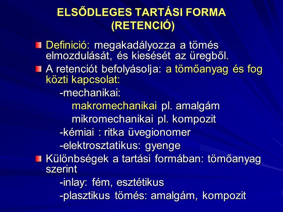 ELSŐDLEGES TARTÁSI FORMA (RETENCIÓ) Definició: megakadályozza a tömés elmozdulását, és kiesését az üregből. A retenciót befolyásolja: a tömőanyag és f