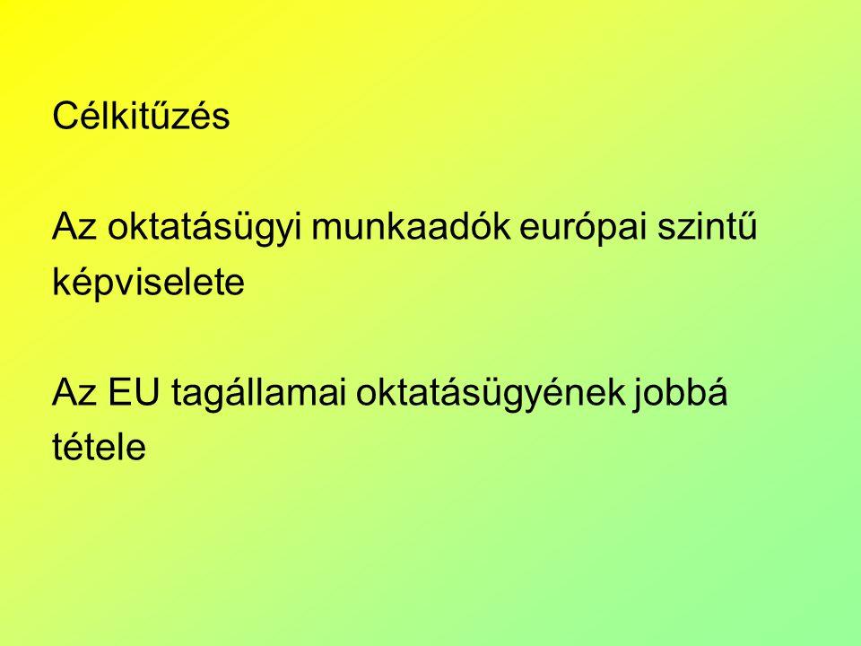 Célkitűzés Az oktatásügyi munkaadók európai szintű képviselete Az EU tagállamai oktatásügyének jobbá tétele