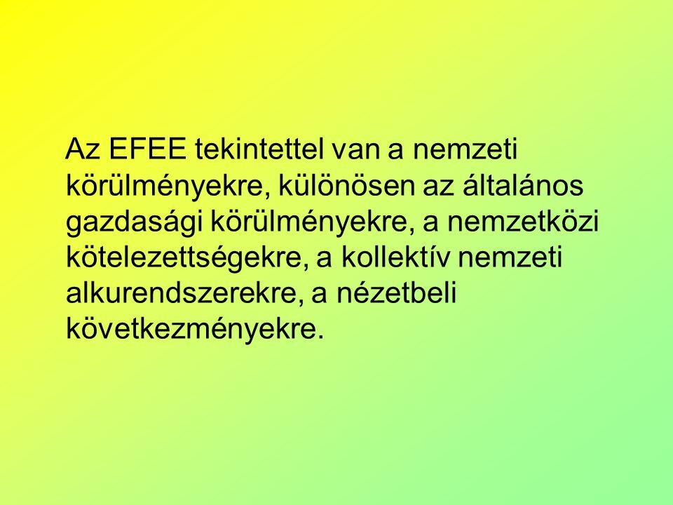 Az EFEE tekintettel van a nemzeti körülményekre, különösen az általános gazdasági körülményekre, a nemzetközi kötelezettségekre, a kollektív nemzeti alkurendszerekre, a nézetbeli következményekre.