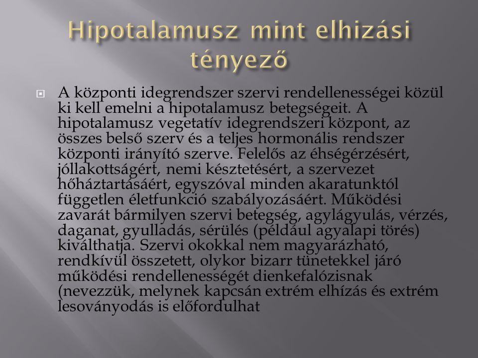  A központi idegrendszer szervi rendellenességei közül ki kell emelni a hipotalamusz betegségeit.