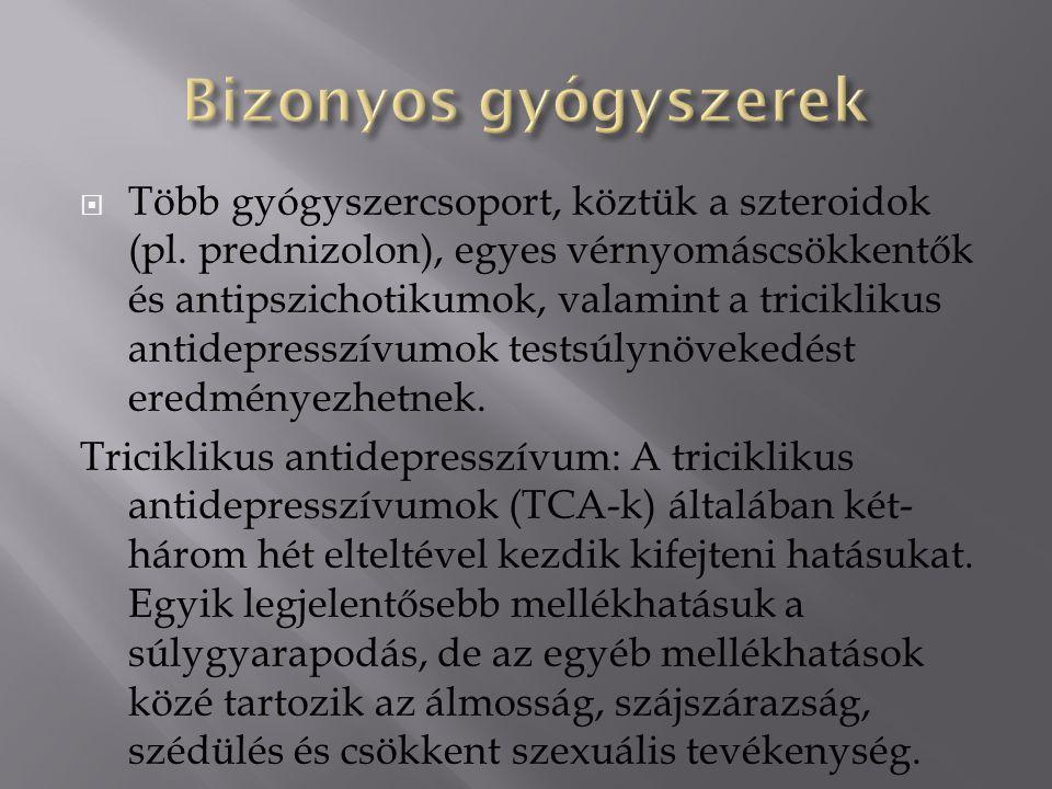  Több gyógyszercsoport, köztük a szteroidok (pl.