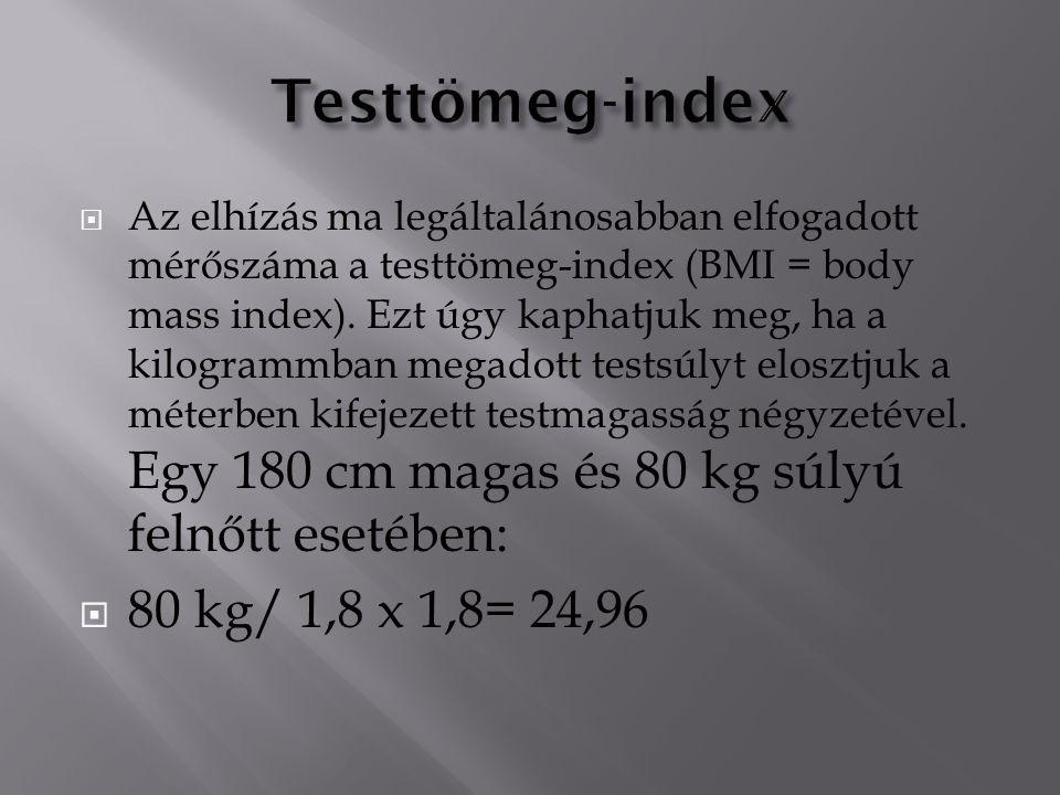  Az elhízás ma legáltalánosabban elfogadott mérőszáma a testtömeg-index (BMI = body mass index).