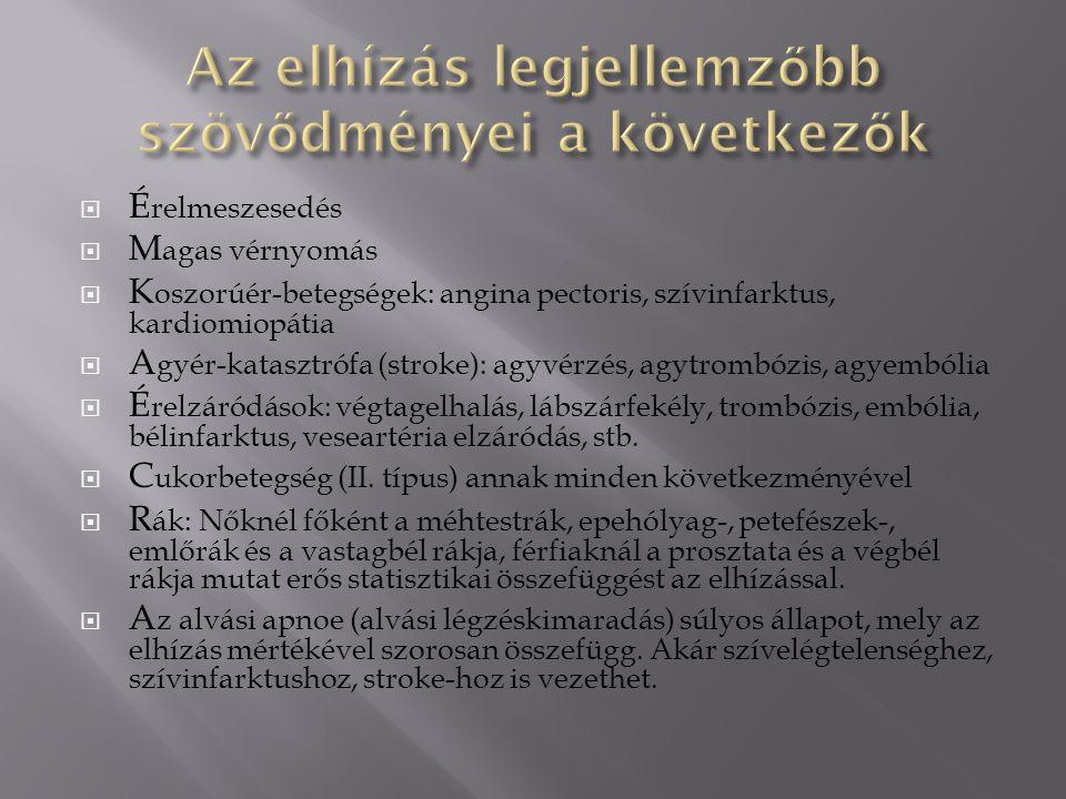  É relmeszesedés  M agas vérnyomás  K oszorúér-betegségek: angina pectoris, szívinfarktus, kardiomiopátia  A gyér-katasztrófa (stroke): agyvérzés, agytrombózis, agyembólia  É relzáródások: végtagelhalás, lábszárfekély, trombózis, embólia, bélinfarktus, veseartéria elzáródás, stb.