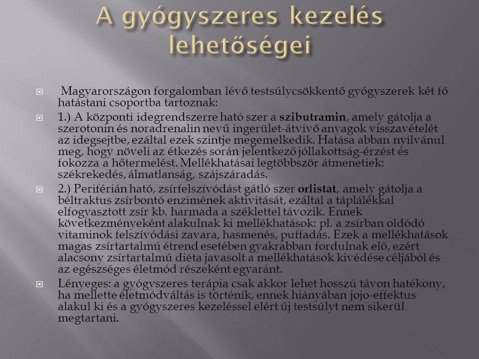  Magyarországon forgalomban lévő testsúlycsökkentő gyógyszerek két fő hatástani csoportba tartoznak:  1.) A központi idegrendszerre ható szer a szibutramin, amely gátolja a szerotonin és noradrenalin nevű ingerület-átvivő anyagok visszavételét az idegsejtbe, ezáltal ezek szintje megemelkedik.