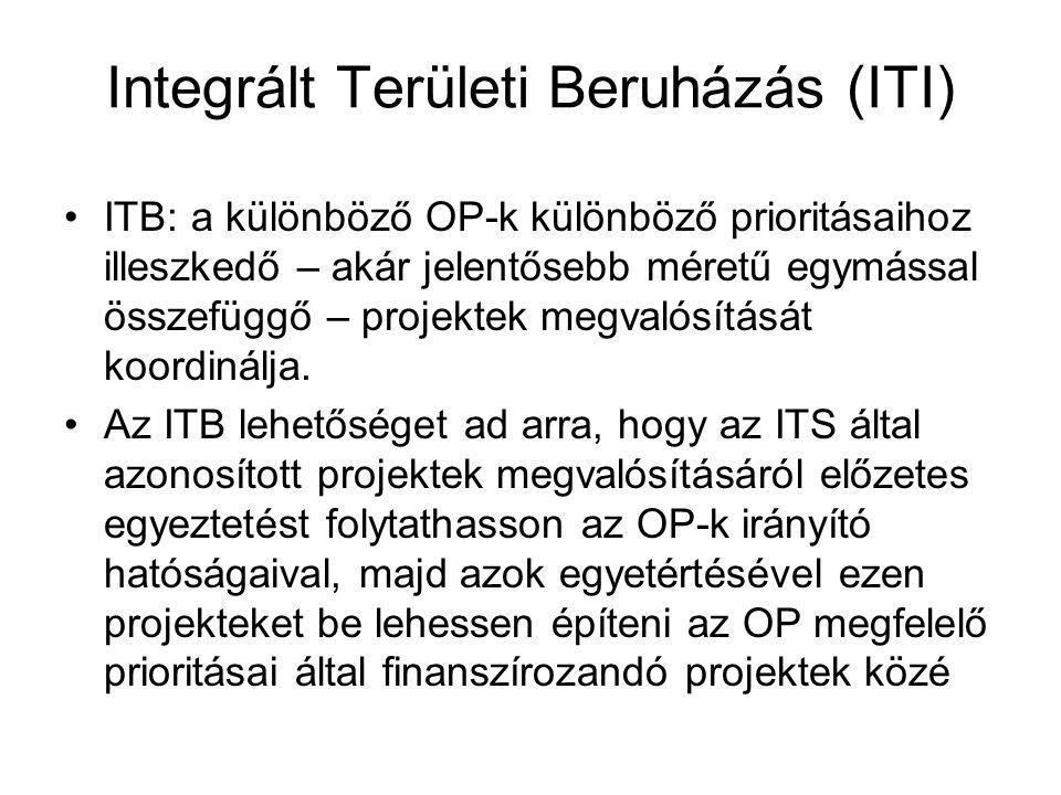 Integrált Területi Beruházás (ITI) •ITB: a különböző OP-k különböző prioritásaihoz illeszkedő – akár jelentősebb méretű egymással összefüggő – projekt
