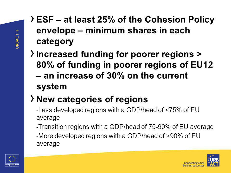 ›4›4 › ESF – at least 25% of the Cohesion Policy envelope – minimum shares in each category › Increased funding for poorer regions > 80% of funding in