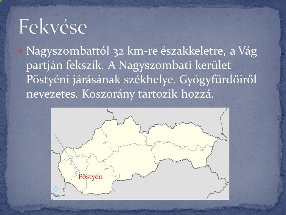  Nagyszombattól 32 km-re északkeletre, a Vág partján fekszik. A Nagyszombati kerület Pöstyéni járásának székhelye. Gyógyfürdőiről nevezetes. Koszorán