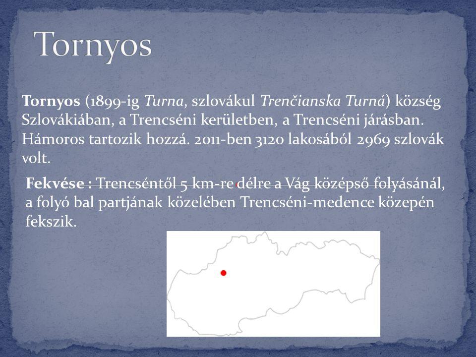 Tornyos (1899-ig Turna, szlovákul Trenčianska Turná) község Szlovákiában, a Trencséni kerületben, a Trencséni járásban. Hámoros tartozik hozzá. 2011-b
