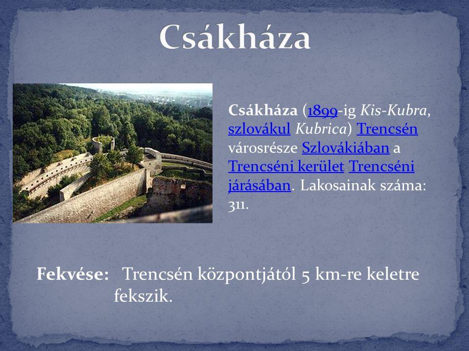 Csákháza (1899-ig Kis-Kubra, szlovákul Kubrica) Trencsén városrésze Szlovákiában a Trencséni kerület Trencséni járásában. Lakosainak száma: 311.1899 s
